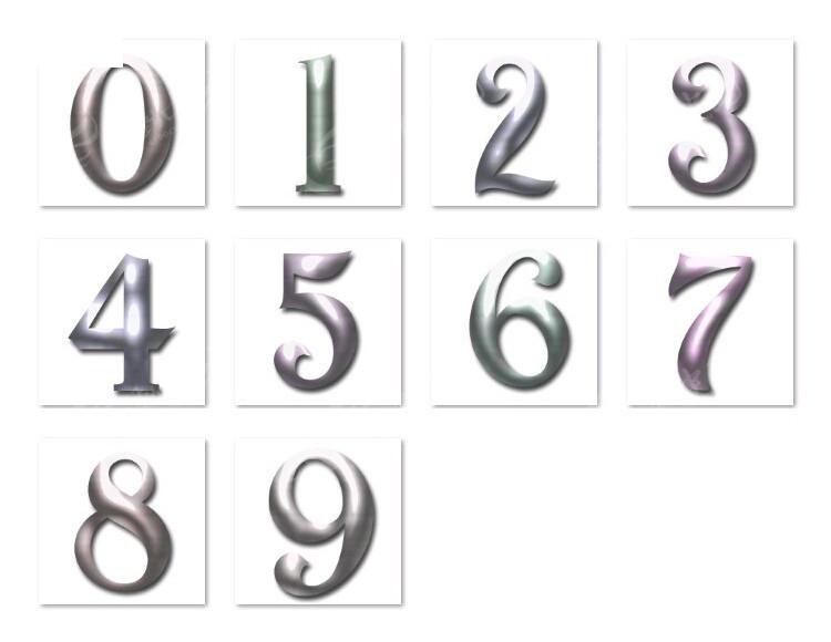 0-9银色金属立体数字