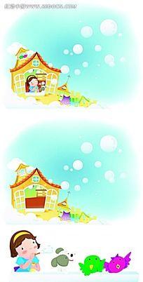 吹泡泡的女孩卡通手绘