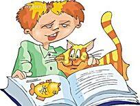 和猫咪一起看书的男孩时尚矢量人物插画
