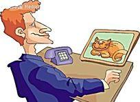 看着猫咪照片的男人时尚矢量人物插画