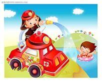 可爱消防员卡通人物插画