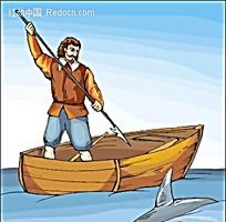 老人与鲨鱼矢量人物插画