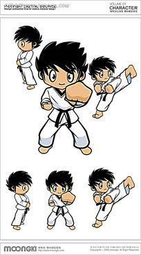 跆拳道的男孩卡通手绘图片