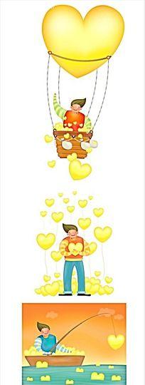 热气球和男子卡通手绘