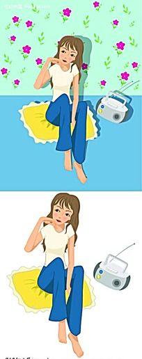 降落伞和女孩卡通手绘