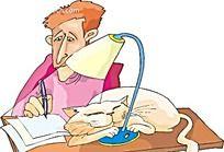 台灯下写字的男人和睡觉的猫插画