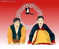 行礼仪的韩国古代夫妻漫画