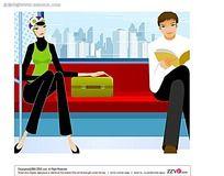 坐地铁的男女插画