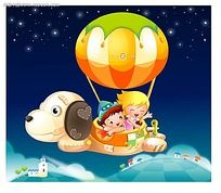 坐热气球的小孩子卡通插画