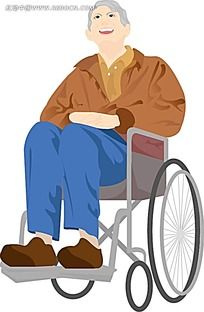 坐在轮椅上的老人韩国矢量人物插画