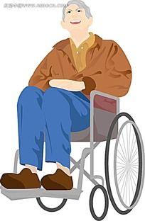 坐在轮椅上的老人家韩国矢量人物插画