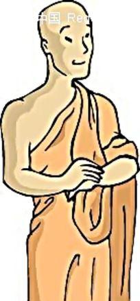 光头僧侣卡通手绘