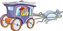 老鼠和车子卡通手绘