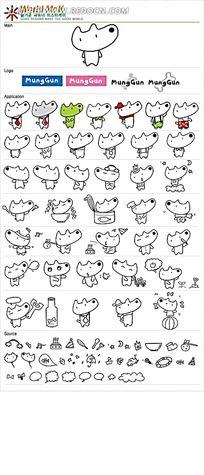 小狗线描卡通卡通矢量人物插画