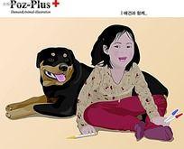 小女孩和小狗狗韩国矢量人物插画
