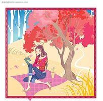 在树下看书的女孩韩国矢量人物插画