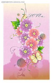 彩色花朵和藤蔓矢量背景
