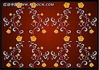 红色花朵藤蔓矢量背景