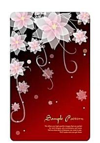 红色系花朵藤蔓矢量素材