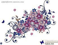 蝴蝶和花朵藤蔓矢量素材