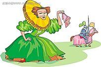 护送骑士的贵妇卡通矢量人物插画