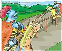决斗的骑士时尚矢量人物漫画