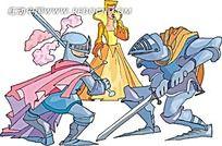 决战的骑士卡通矢量人物插画