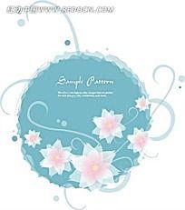 蓝色背景花朵藤蔓矢量素材