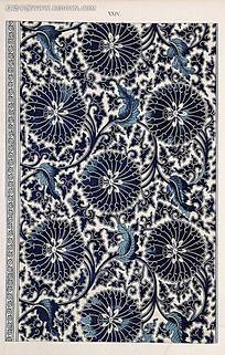 蓝色复古花卉植物图例