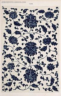 蓝色花卉植物叶子图例