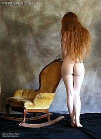 裸体美女模特后背