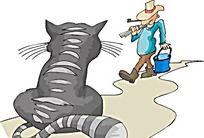 猫咪的背影时尚矢量人物漫画