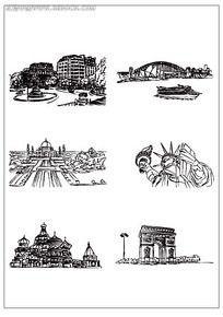 欧式建筑雕塑插画
