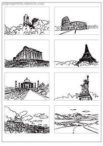 欧式建筑风景插画