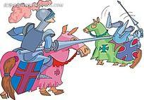 骑马战争的骑士卡通矢量人物插画