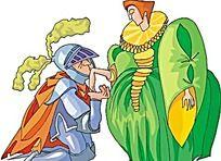 亲吻贵妇的骑士卡通矢量人物插画