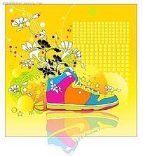 鞋子和花朵藤蔓矢量素材