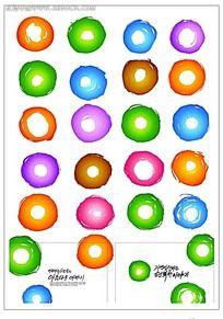 圆形彩点笔刷韩国系列水墨底纹