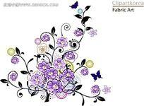 紫色花朵和蝴蝶藤蔓矢量素材