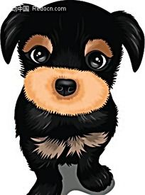 茶杯小狗卡通矢量动物插画