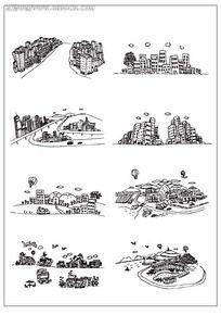 城市卡通建筑插图