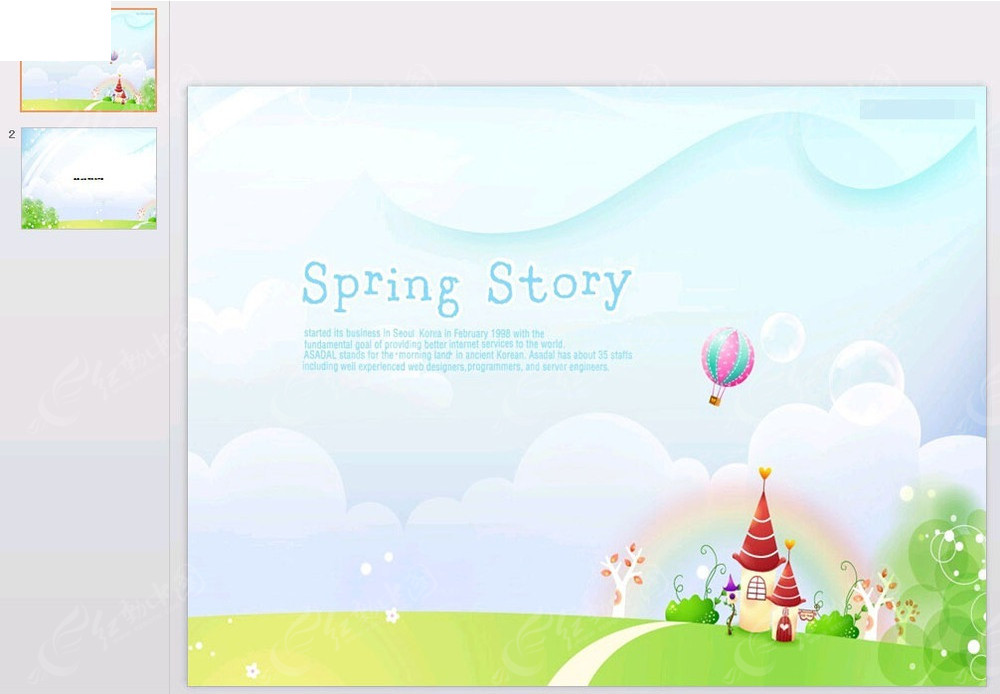免费素材 ppt模板 ppt模板/ppt图表 其他ppt 春天的故事手绘插画背景