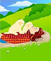 和小狗狗一起躺着的女生时尚矢量人物漫画