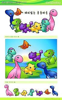 可爱的侏罗纪时代恐龙卡通矢量动物插画