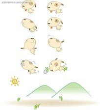 可爱的小狗狗卡通矢量动物插画