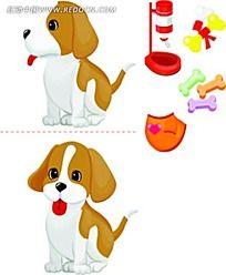 可爱小狗素材韩国矢量动物插画