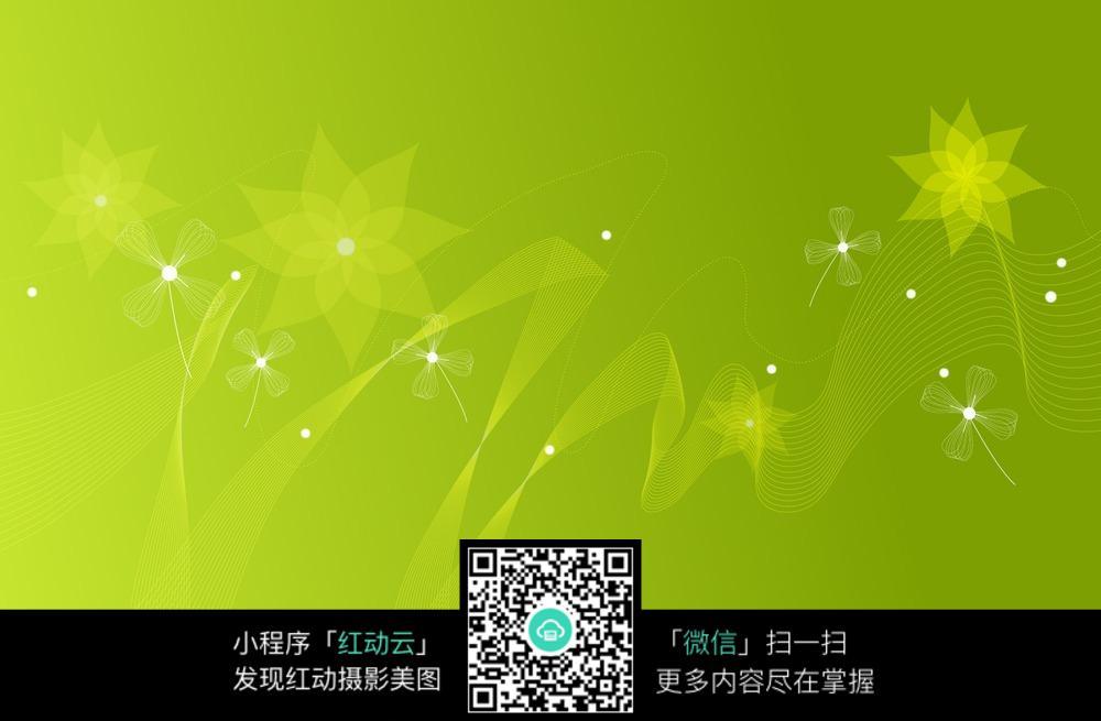 素材_绿色曲线和花朵背景素材