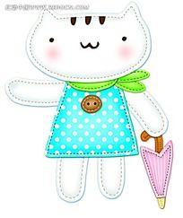 拿着雨伞的小猫咪时尚风格插画