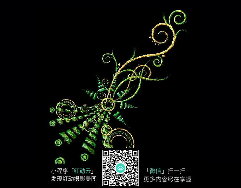 免费素材 图片素材 背景花边 花纹花边 手绘绿色植物花纹素材jpg  请