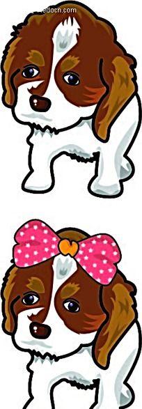 扎着蝴蝶结的小狗韩国矢量动物插画